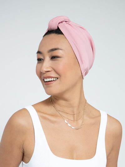 carnation pink pre-tied head wrap for women