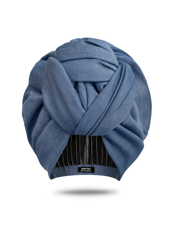 Chambray denim turban head wrap for women