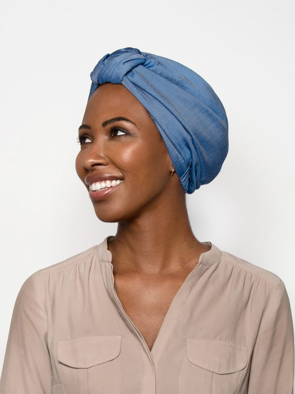Chambray denim turban head wrap