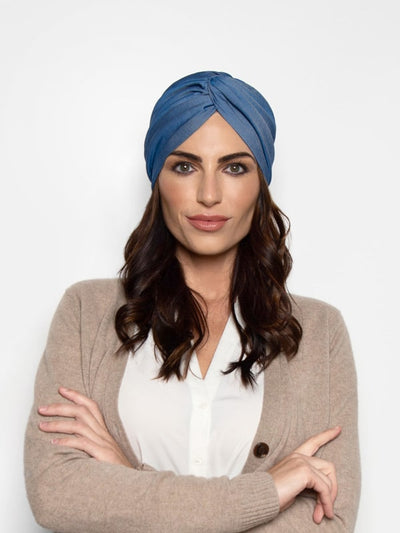 Classic denim chambray turban chemo headwrap turban for women