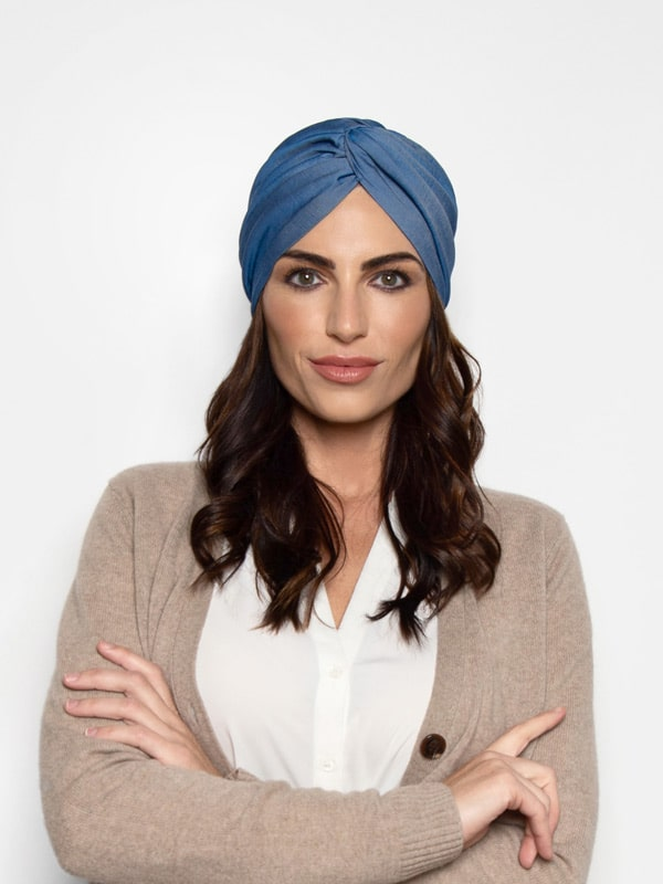 Classic denim chambray turban