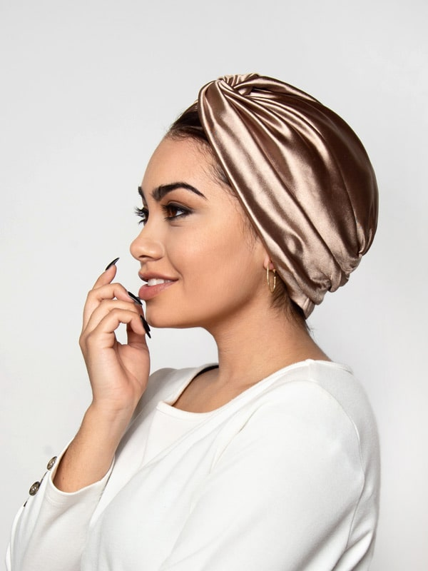 champagne satin turban for women| latina in head wrap