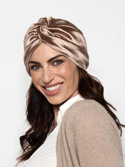 Champagne Satin Turban Head Wrap