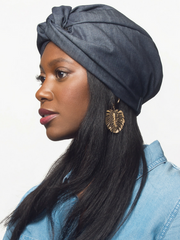 Denim Turban Hat For Women