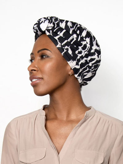 Womens Black & White Pre Knotted Headwrap