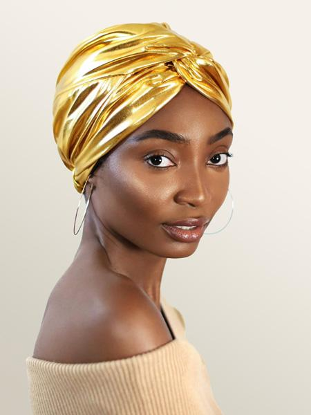 Gold Metallic Turban For Women