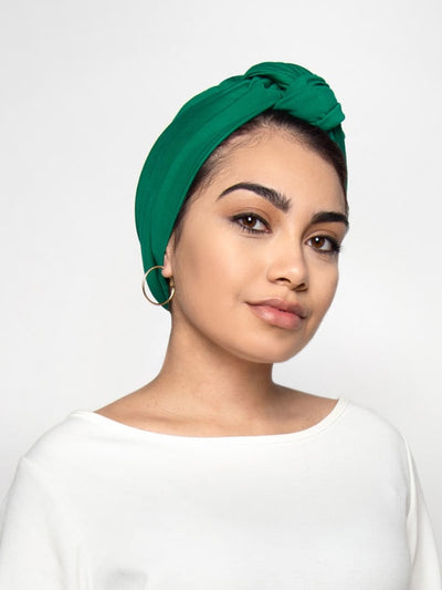 Green Front knot turban womens