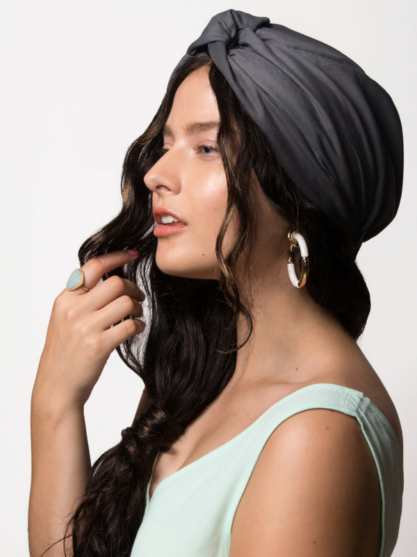 Grey Satin-Lined Head Wrap Turban