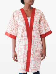 red cream kimono jacket for women