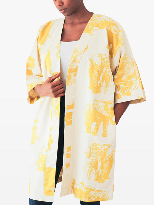 cream and mustard short kimono