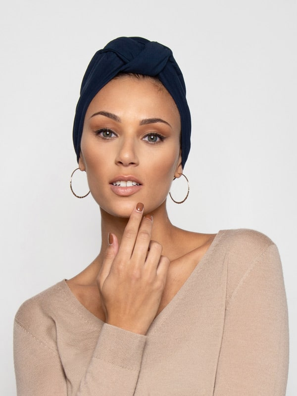 Midnight Blue Front Knot Turban