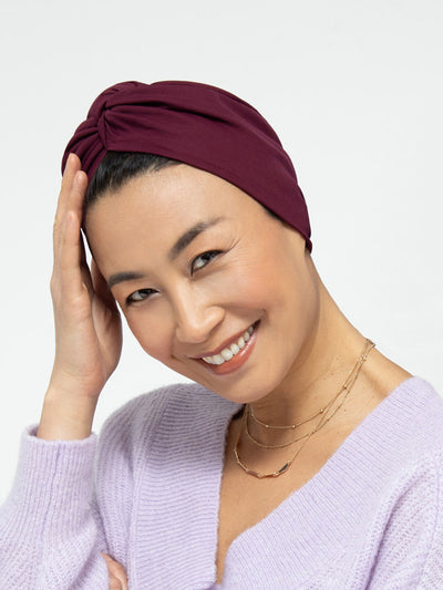 Wine Satin-Lined Headwrap For Women
