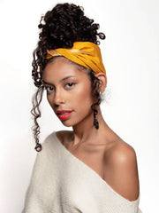Mustard Yellow Satin-Lined Headscarf