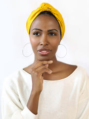 Mustard Yellow Satin-Lined Turban