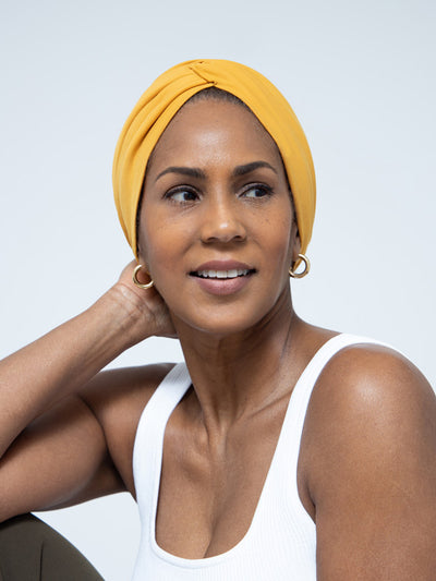 Mustard Yellow Chemo Head Wrap For Women