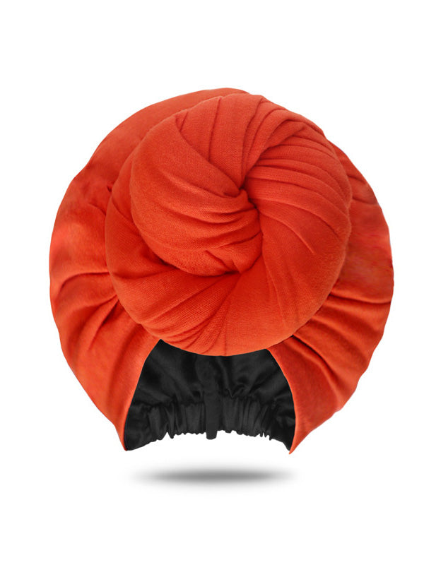 Orange Front Knotted Turban Hat
