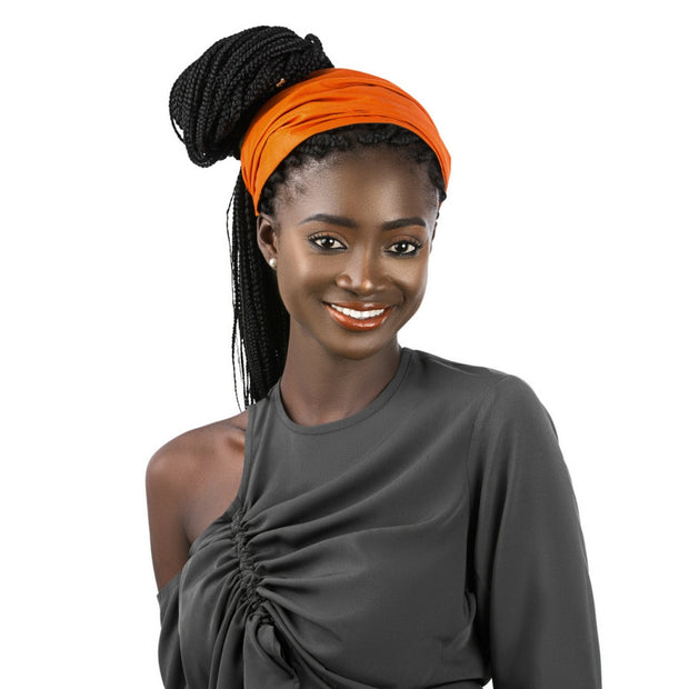 deep orange satin lined headband