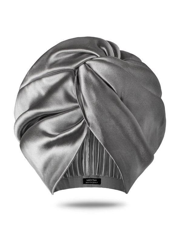 Silver Metallic Turban  Hair Wrap for Womens
