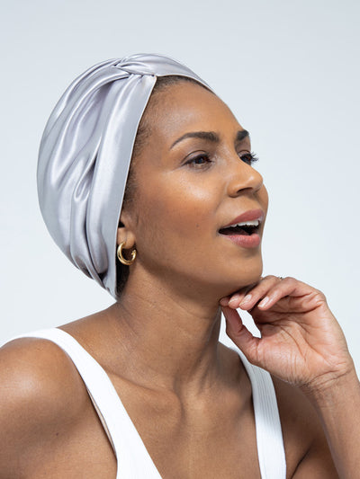 Silver Metallic Head Wrap For Women
