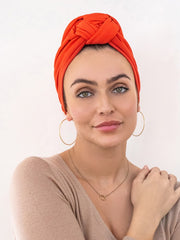 poppy orange turban for women