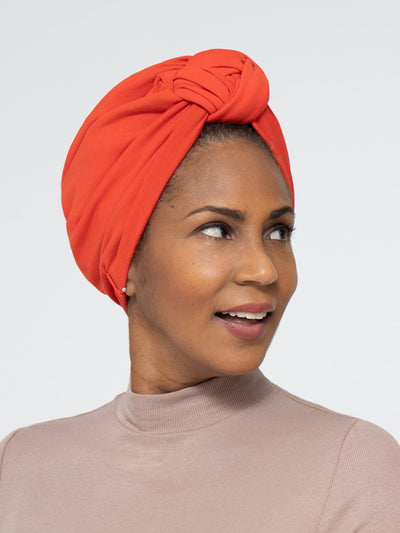 Red Orange Front Knot Satin Lined Turban For Women