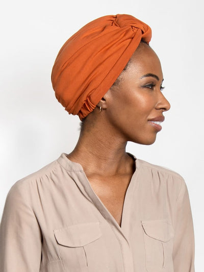 Pumpkin Pre-knotted head wrap turban for women