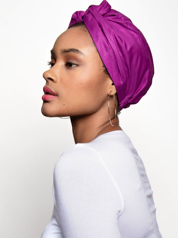purple turban head wrap