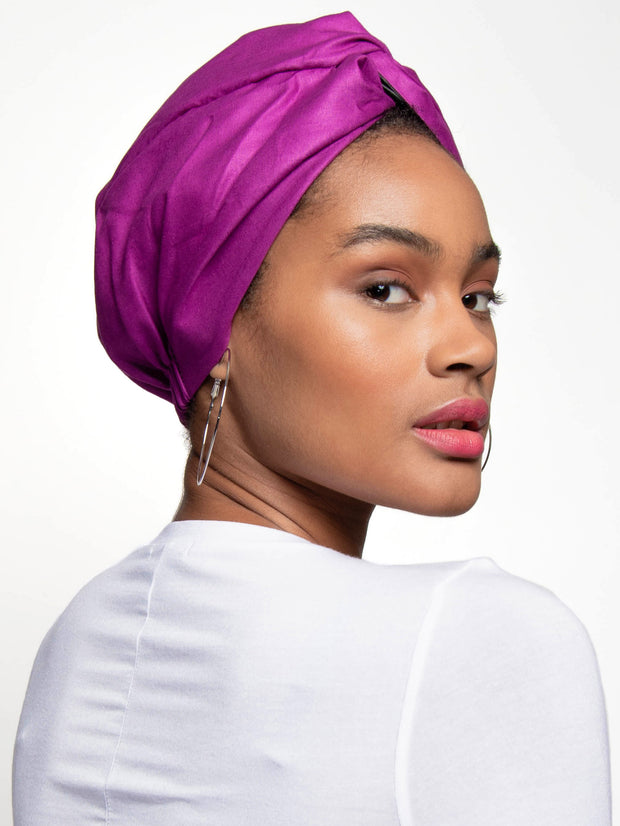 Purple Satin Lined Head Wrap For Curly Hair