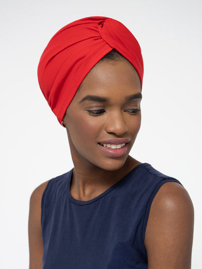 Red Satin lined headwrap for women