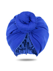 Royal Blue Head Wrap Turban | Satin-Lined Turban | Pre-Tied Turban for Women
