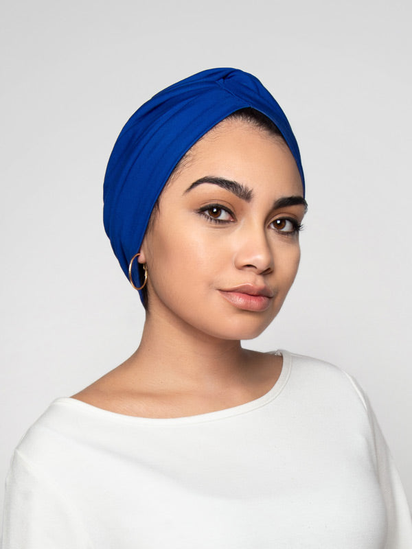 Royal Blue Chemo Turban For Women