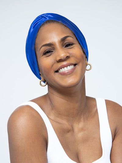 satin blue head wrap turban for women
