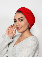 Red chemo turban head wrap for women