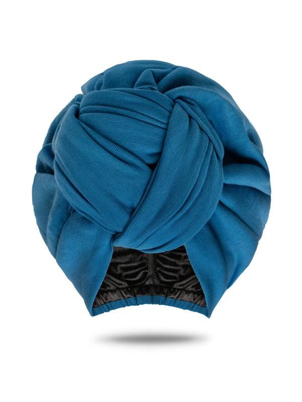 Steel Blue Front Knot Turban