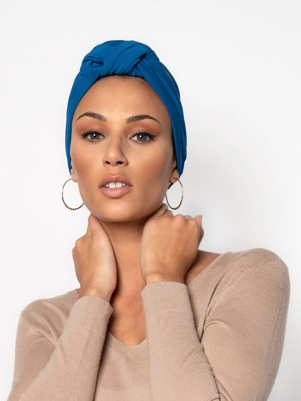 Steel blue turban for women