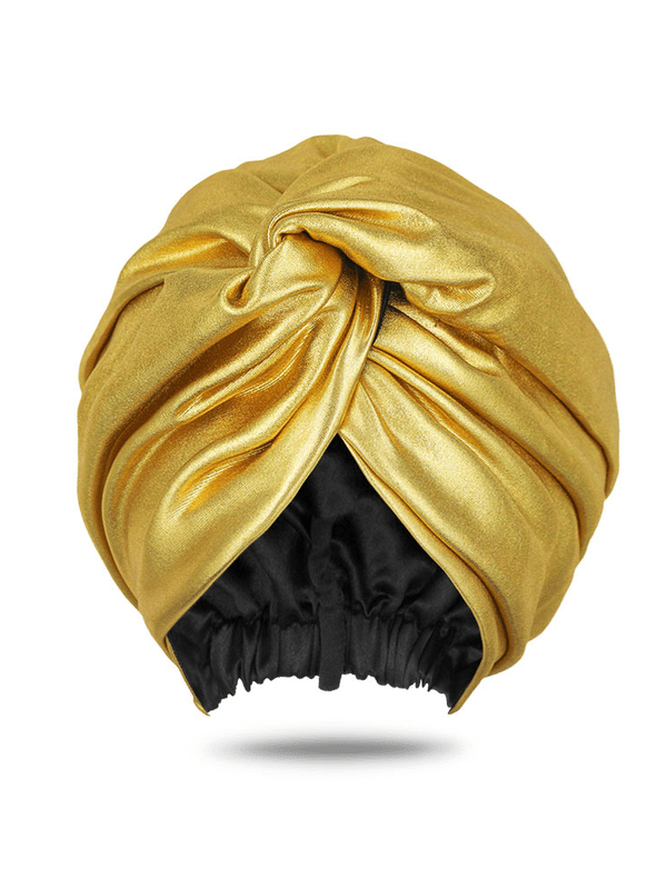 Women's Metallic Gold Head Wrap Turban