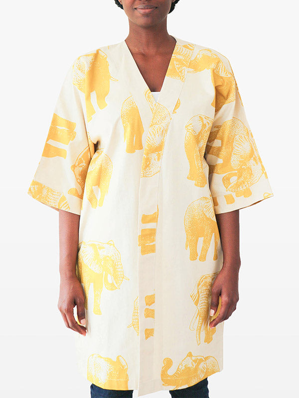 kimono jacket with elephant design for women