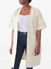 mustard yellow and cream kimono