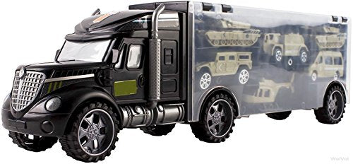Military Transport Car Carrier Truck Toy with Army Car Toys Inside - Great Toy for Kids Who Love Action and Vehicles