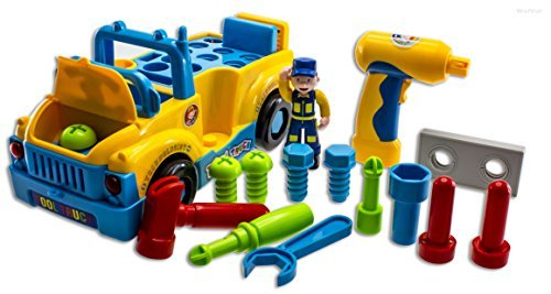 Truck Tools Toy Equipped with Electric Drill and Various Tools, Lights and Music, Bump and Go Action, will go by its own and change directions on contact