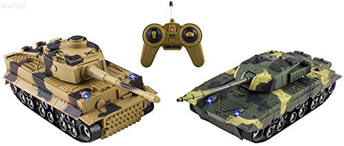 Set of 2 Remote Control Military Combat Fighter Tank Toys with Head Lights and Army Sounds for Kids