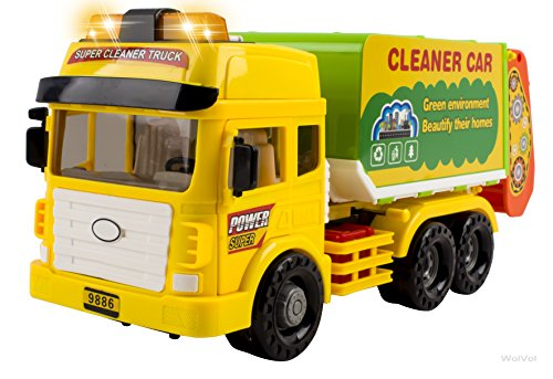 Heavy Duty Friction Powered Garbage Truck Toy with Lights and Sounds for Kids, 4 Different Sound Effects