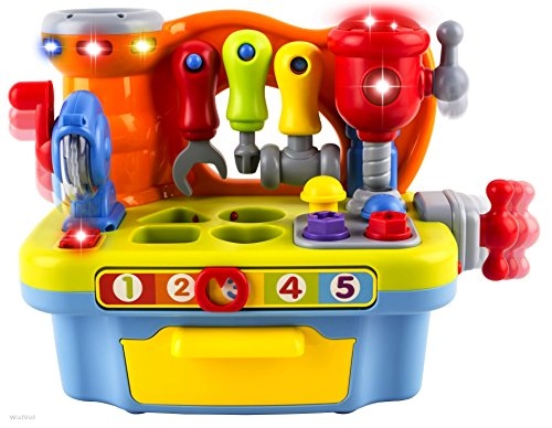 Musical Learning Workbench Toy with Tools, Engineering Sound Effects and Lights, and Shape Sorter