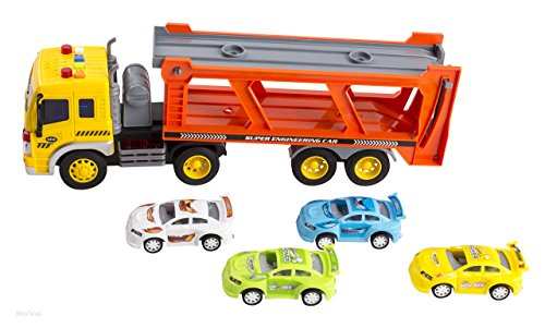 Friction Powered Transport Car Carrier Truck Toy for Boys and Girls, Lights and Sounds & Ramp