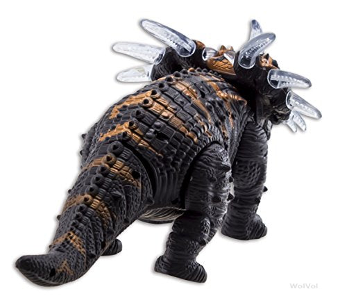 Walking Triceratops Dinosaur Toy Figure with Many Lights & Loud Roar Sounds, Real Movement