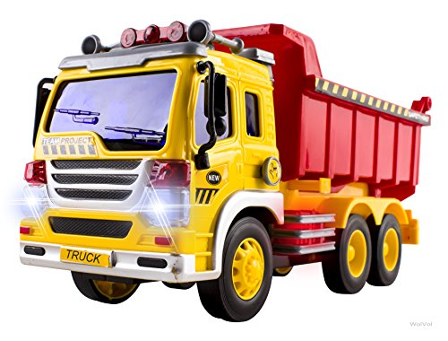 Friction Powered Dump Truck Toy with Lights and Sounds for Kids, Can Lift Up The Bucket