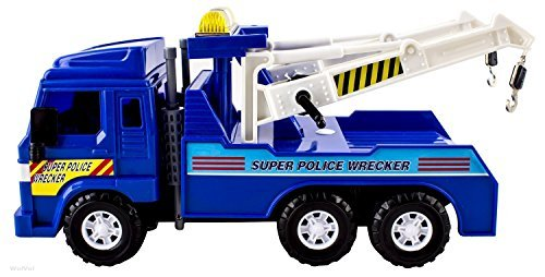 Big Heavy Duty Wrecker Tow Truck Police Toy for Kids with Friction Power