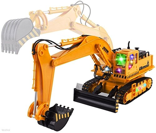 Big Electric RC Remote Control Excavator Construction Truck Toy for Kids with Lights and Sounds