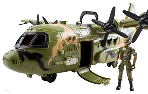 Giant F16 Bomber Military Combat Fighter Airforce Airplane Toy with Lights and Army Sounds for Kids, with Mini Soldiers