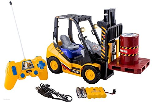 6 Channel Electric Rc Remote Control Full Functional Forklift Toy with Lights, Pallet and Barrel Pretend Play